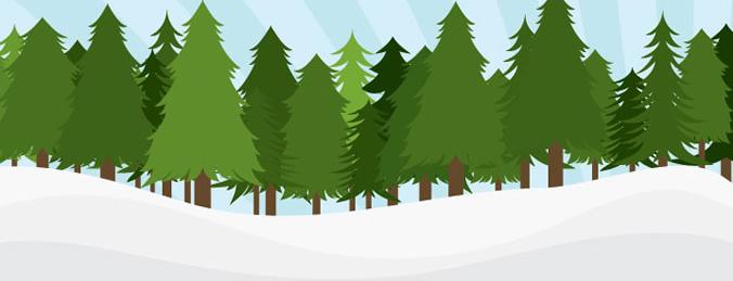 简笔画松树林